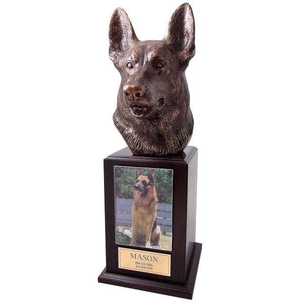 German Shepherd Urns in Walnut
