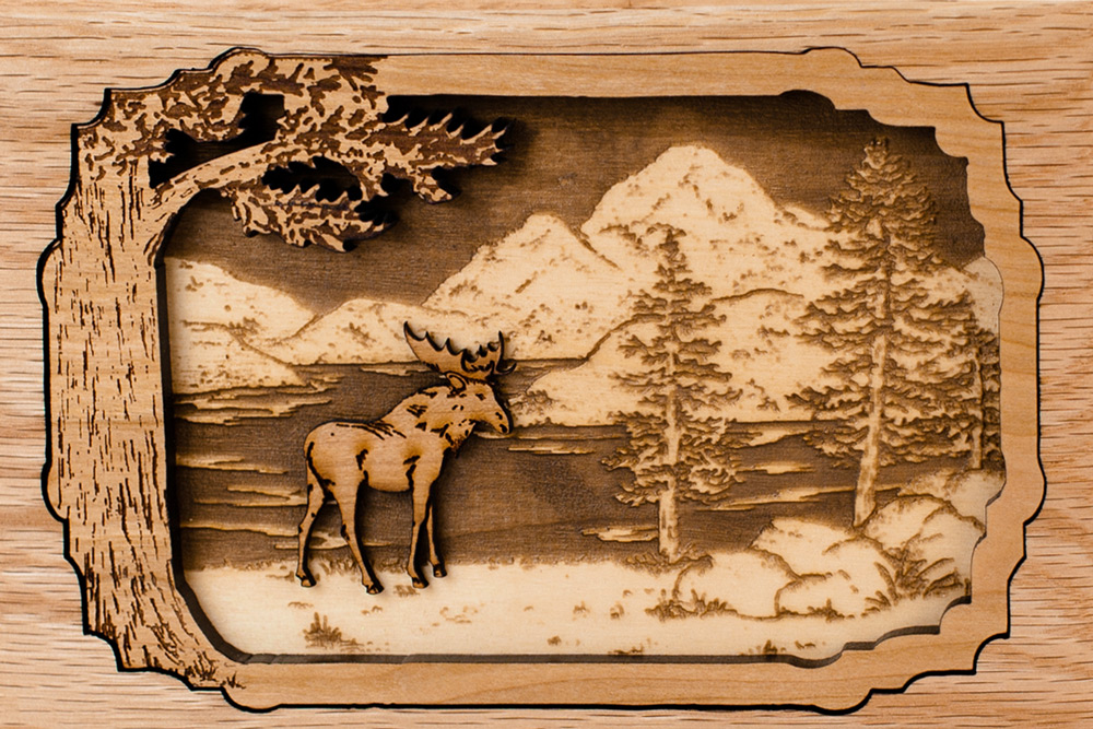 Dolphin Wood Inlays : Dimensional inlay art wood cremation urns photo gallery