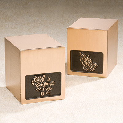 Timeless Bronze Cremation Urn with choice of Roses or Praying Hands Applique