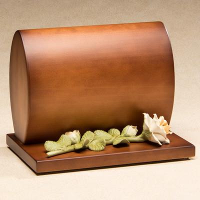 Harmonious Wood Cremation Urn with Ceramic White Rose
