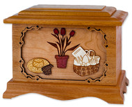 Ambassador Gardener Cremation Urn with Wood Inlay Art