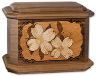 Dogwood Flower Cremation Urn in Walnut Wood