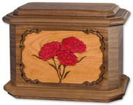 Carnations Flower Cremation Urn in Walnut Wood