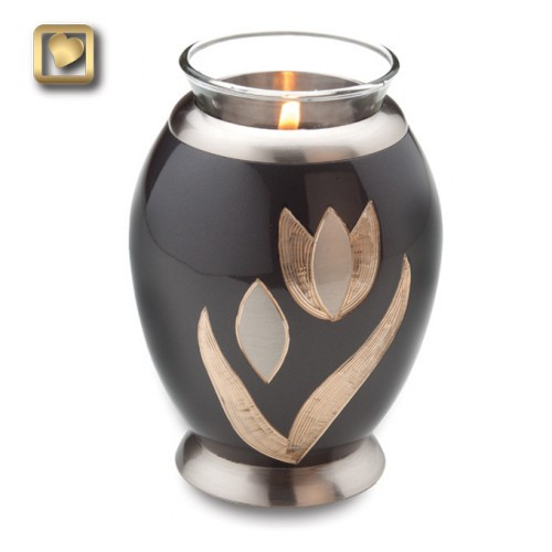 Tealight Cremation Urn with Tulips