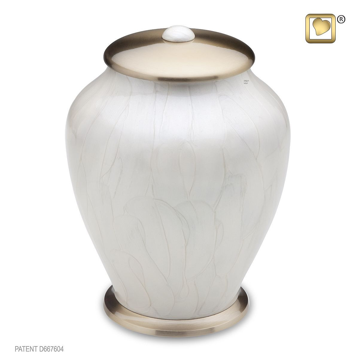 Simplicity Brass Cremation Urn in Pearl White