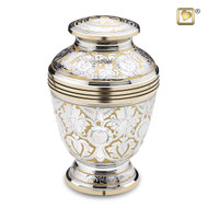 Ornate Floral Cremation Urn in Brass