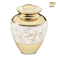Mother of Pearl Brass Cremation Urn