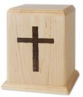 Maple Wood Cremation Urn with Walnut Cross Inlay