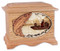 Salmon Boat Fishing Cremation Urn - Oak Wood
