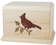 Cardinal Inlay Wood Art Urn