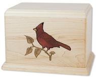 Cardinal Inlay Wood Art Urn