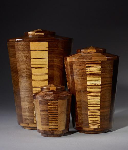 Hand Turned Walnut & Zebrawood Cremation Urn