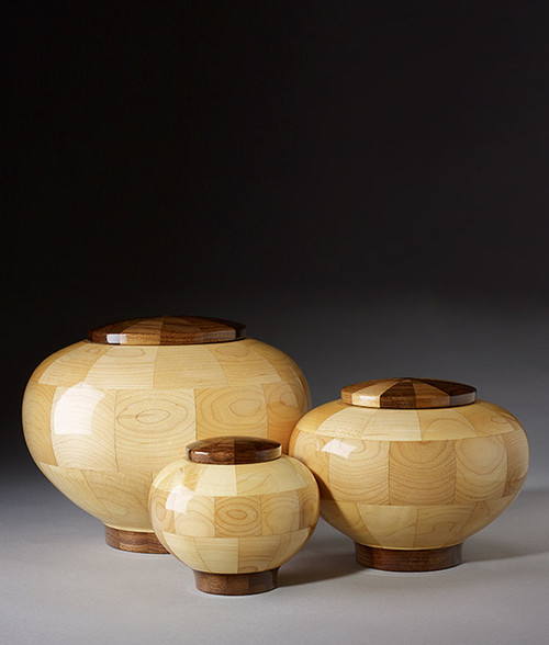 Hand Turned Rounded Maple Cremation Urn