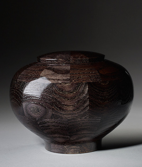 Hand Turned Wood Cremation Urn in Black - Standard