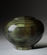 Hand Turned Wood Cremation Urn in Green - Standard