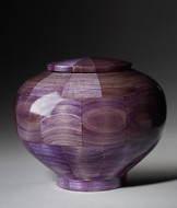 Hand Turned Wood Cremation Urn in Purple - Standard