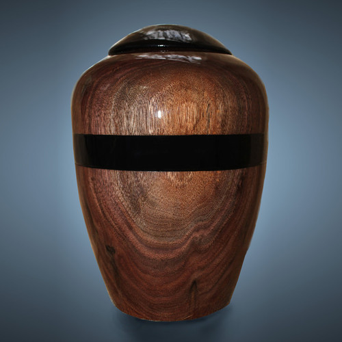 Woodturned Cremation Urn in Rich Dark Walnut