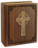 Celtic Cross Bible Urn in Walnut