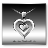 Eternity Heart Cremation Necklace - Rhodium Finish