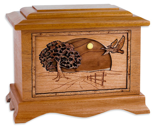 Road Home Cremation Urn in Mahogany Wood