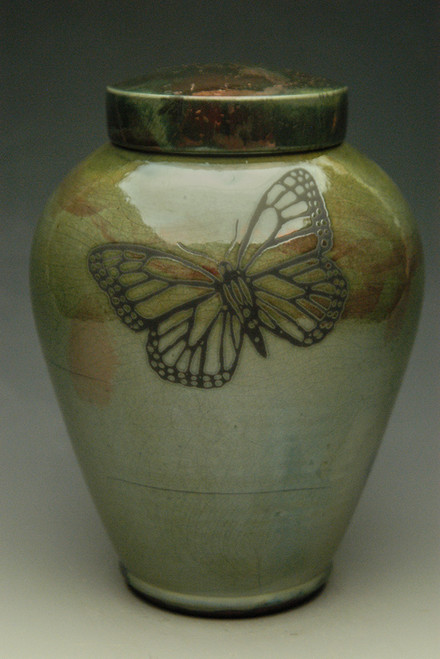 Handcrafted Monarch Butterfly Raku Ceramic Cremation Urn