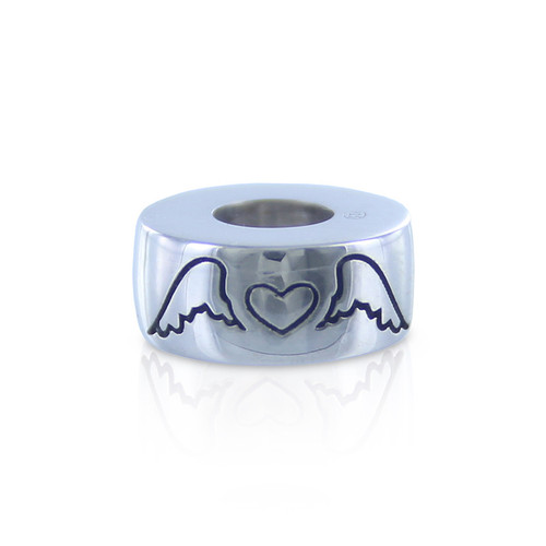 Angel Wings & Heart Cremation Bead