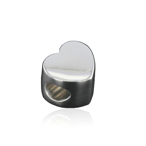 Silver Heart Cremation Bead