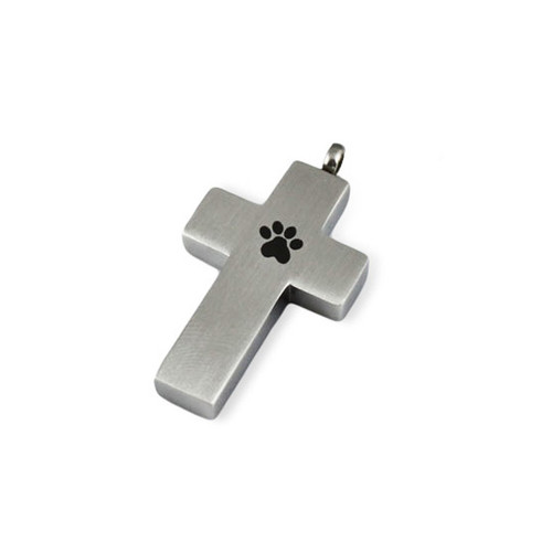 Paw Print Cross Cremation Necklace