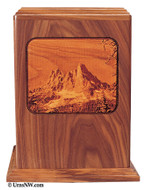 Mountain Laser Engraved Wood Urn