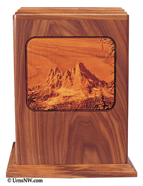 Mountain Laser Engraved Wood Urn