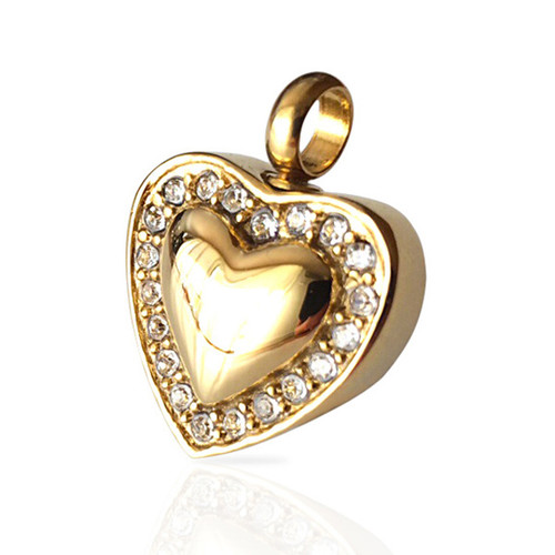 """Sweetheart"" Cremation Urn Necklace Pendant in Gold Finish"