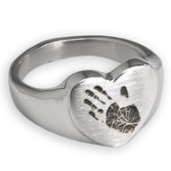Sterling Silver Memorial Handprint Ring