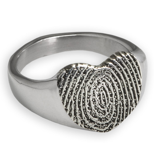 Sterling Silver Fingerprint Heart Ring - No chamber