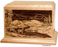 Deer Scene Wood Cremation Urn