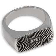 Enduring Rectangle Fingerprint Memorial Ring - With Initials