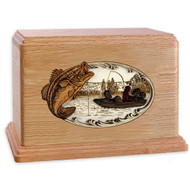 Bass Boat Fishing Wooden Companion Urn - Oak Wood