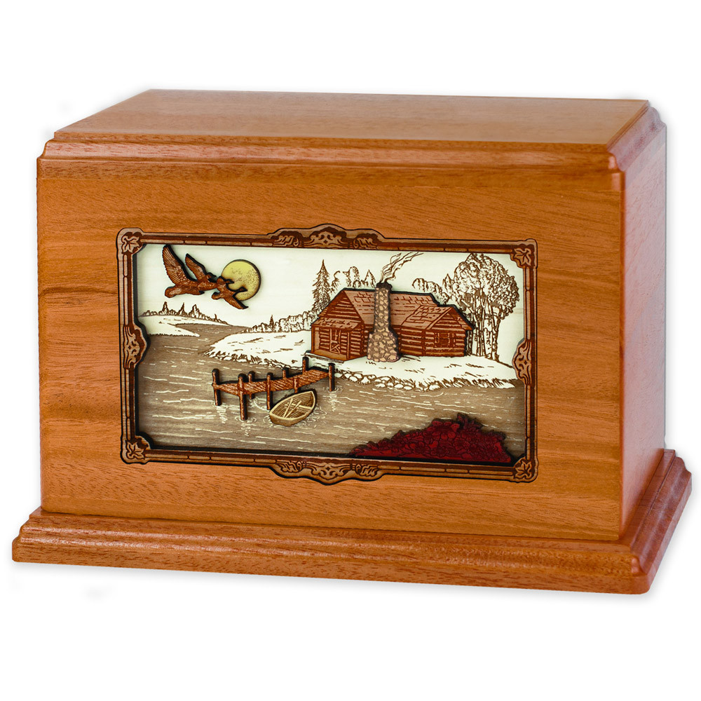 Companion Cremation Urn with Rustic Paradise Cabin 3D Wood Inlay