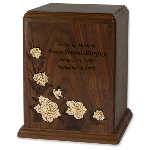 Walnut Wood Cremation Urn with White Floral Inlay - Personalized