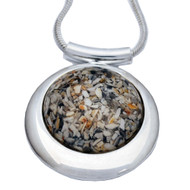 Large Round Deluxe Cremation Necklace Made from Ashes - Clear, Granite