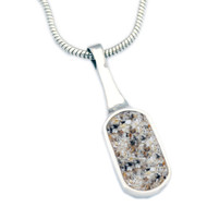 Small Oblong Cremation Necklace - Clear, Granite