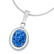 Small Oval Cremation Necklace in Sterling Silver - Blue