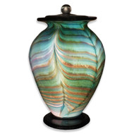 Amato Aqua Hand Blown Glass Cremation Urn