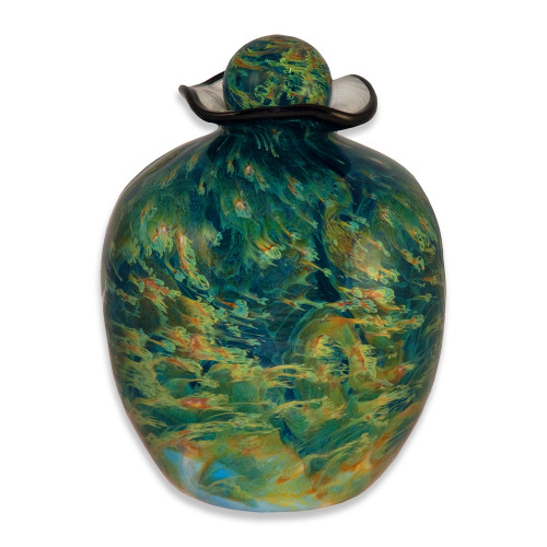 Hand Blown Glass Funeral Urn - Bella - Sky