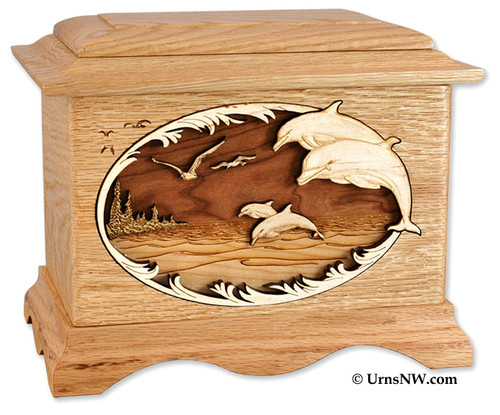 Dolphin Wood Inlays : Dolphin cremation urn with wood inlay art ocean scene