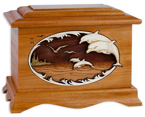 Dolphin Cremation Urn - Mahogany