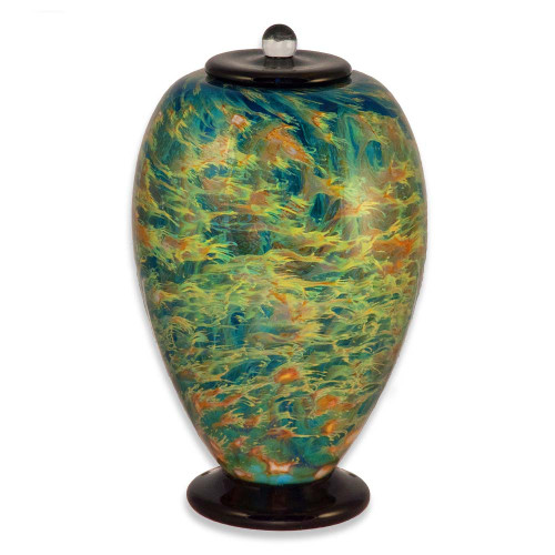 Deco Hand Blown Glass Funeral Urn - Sky