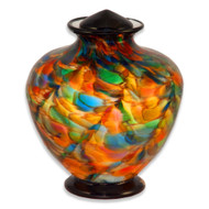 Deco Hand Blown Glass Funeral Urn - Autumn