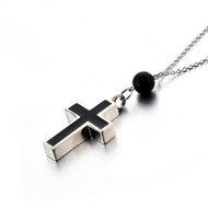 Cremation Jewelry Memorial Necklace - Christian Cross & Lava Rock Diffuser