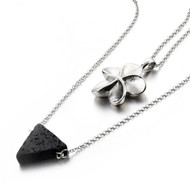 Flower Cremation Necklace with Lava Rock Diffuser