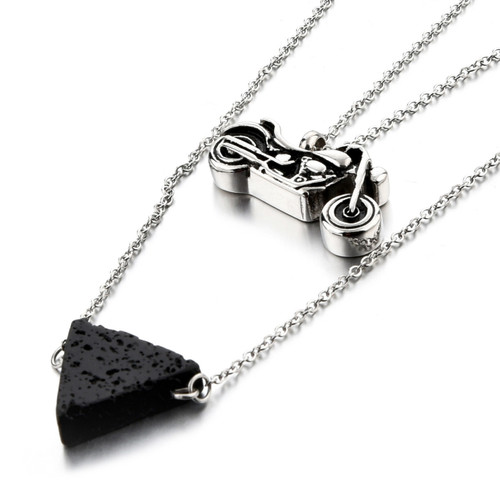 Motorcycle Cremation Necklace & Lava Rock Diffuser Bead